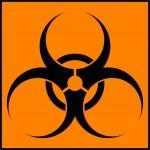 Biohazard orange circle icon — Stock Vector