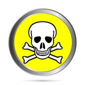 Deadly danger sign button — Stock Vector