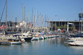 Sailboats in the port of Barcelona — Stock Photo