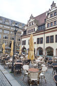 Street cafe in the center of Leipzig — Zdjęcie stockowe