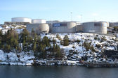 Oil storage on the outskirts of Stockholm. — Stock Photo