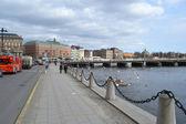 路堤在斯德哥尔摩中央部分 — 图库照片