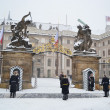 Stock Photo: Prague Castle during heavy snowfall