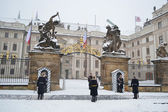 Prague Castle during a heavy snowfall — Stock Photo