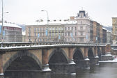 View of the bridge over the Vltava river in Prague — Stock Photo