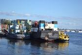 Cargo ship on the Neva river — Stock Photo