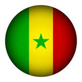 Senegalská vlajka tlačítko. — Stock vektor