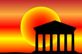 Ancient temple at the sunset — Stock Vector