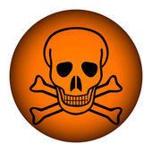 Deadly danger sign button — Stock Vector