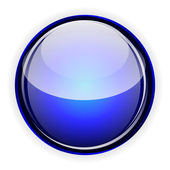 Blue glass button — Stock Vector