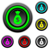 Money buttons set — Stock Vector