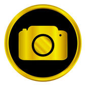Gold camera button — Stock Vector