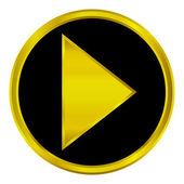 Gold play sign button — Stock Vector
