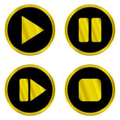 Gold play, pause, stop, forward buttons — Stock Vector