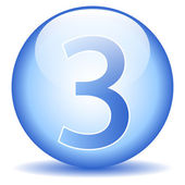 Number three button — Vector de stock