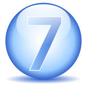 Number seven button — Stockvector