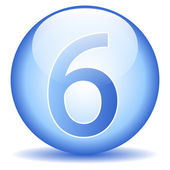 Number six button — Vector de stock