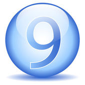 Number nine button — Vector de stock