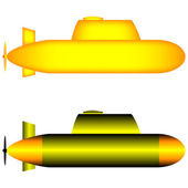Two yellow submarines — 图库矢量图片