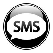 Sms black glossy web icon — Vector de stock