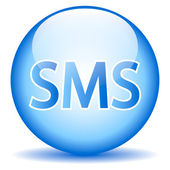 Sms blue glossy web icon — Vector de stock