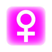 Gender female symbol button — Stock Vector