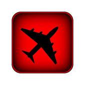 Airplane square button — Stock Vector