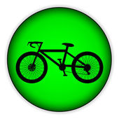 Bicycle icon on round internet button — Stock Vector