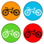 Bicycle icon on round internet button — Vecteur