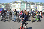 Finish cycling on Palace Square of St.Petersburg — Stock Photo
