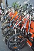 """Parked bikes. Festival """"For velogorod"""". — Stock Photo"""