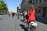 Cycle race on street of St.Petersburg — Stock Photo