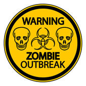 Warning zombie outbreak — Stock Vector
