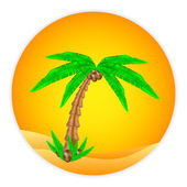 Palm tree button — Stock Vector