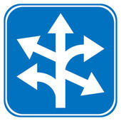 Road sign straight, left and right — 图库矢量图片