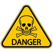 Skull and bones danger triangular sign — Stock Vector