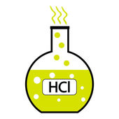 Laboratory glass with hydrochloric acid — Stock Vector
