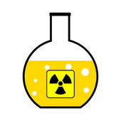 Laboratory flask with a radioactive reagent — Stock Vector