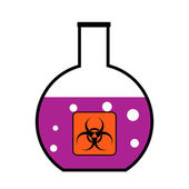 Laboratory flask with biological weapons — Stock Vector