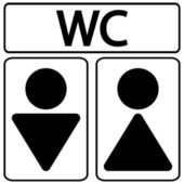 Male and female restroom symbol icons — Vettoriale Stock