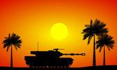 Modern heavy tank in desert — Stok Vektör