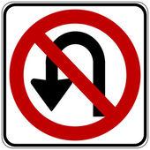 No U turn road sign — Stock Vector