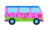 Hippie minibus — Stock Vector