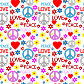 Seamless pattern with symbols of the hippie — Stock Vector