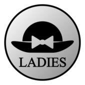 Female restroom symbol button — Stock Vector