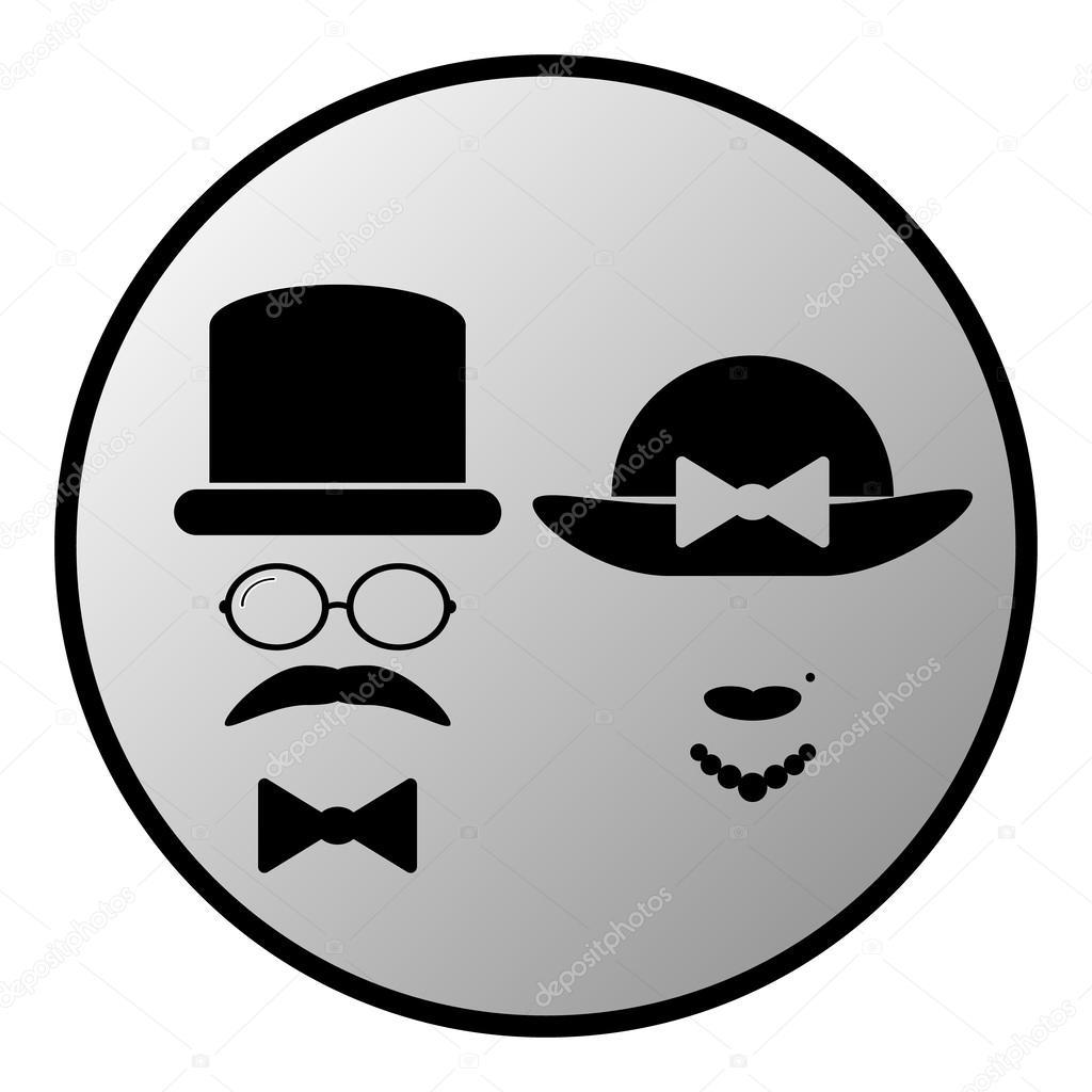 Botão de símbolo de banheiro masculino e feminino — Vetor de Stock © konstsem -> Simbolo Banheiro Feminino E Masculino