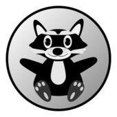 Raccoon button — Stock Vector