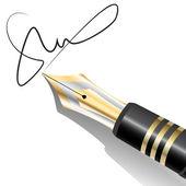 Ink Pen Signature — Stock Vector