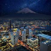 Surreal view of Yokohama city and Mt. Fuji — Stock Photo