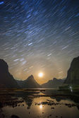 Milford sound at night with startrail, New Sealand — Stockfoto